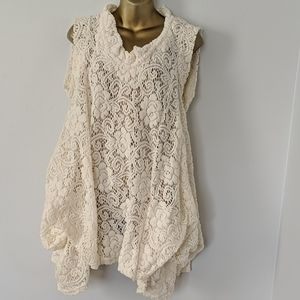 Gracia cream lace high neck dress size medium